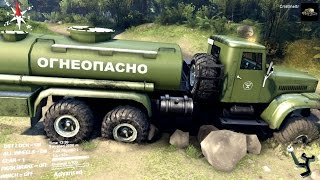 spintires 2014 the river map kraz 255b fuel cistern off road driving