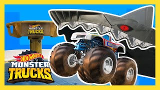 MECHA SHARK EATS MEGA MONSTER TRUCK! | Monster Trucks | Hot Wheels