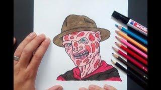 Como dibujar a Freddy Krueger paso a paso - Pesadilla en Elm Street | How to draw Freddy Krueger