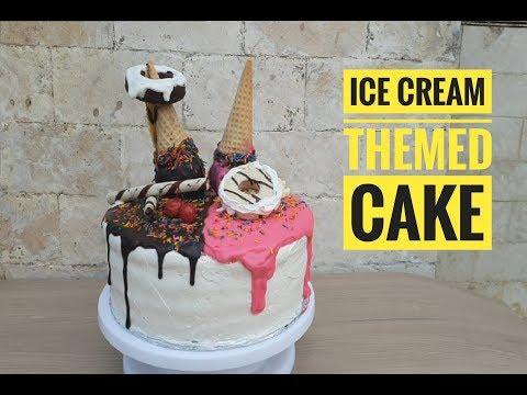 Ice Cream Themed Cake | Chocolate And Strawberry Cake | Birthday Cake (no Bake)