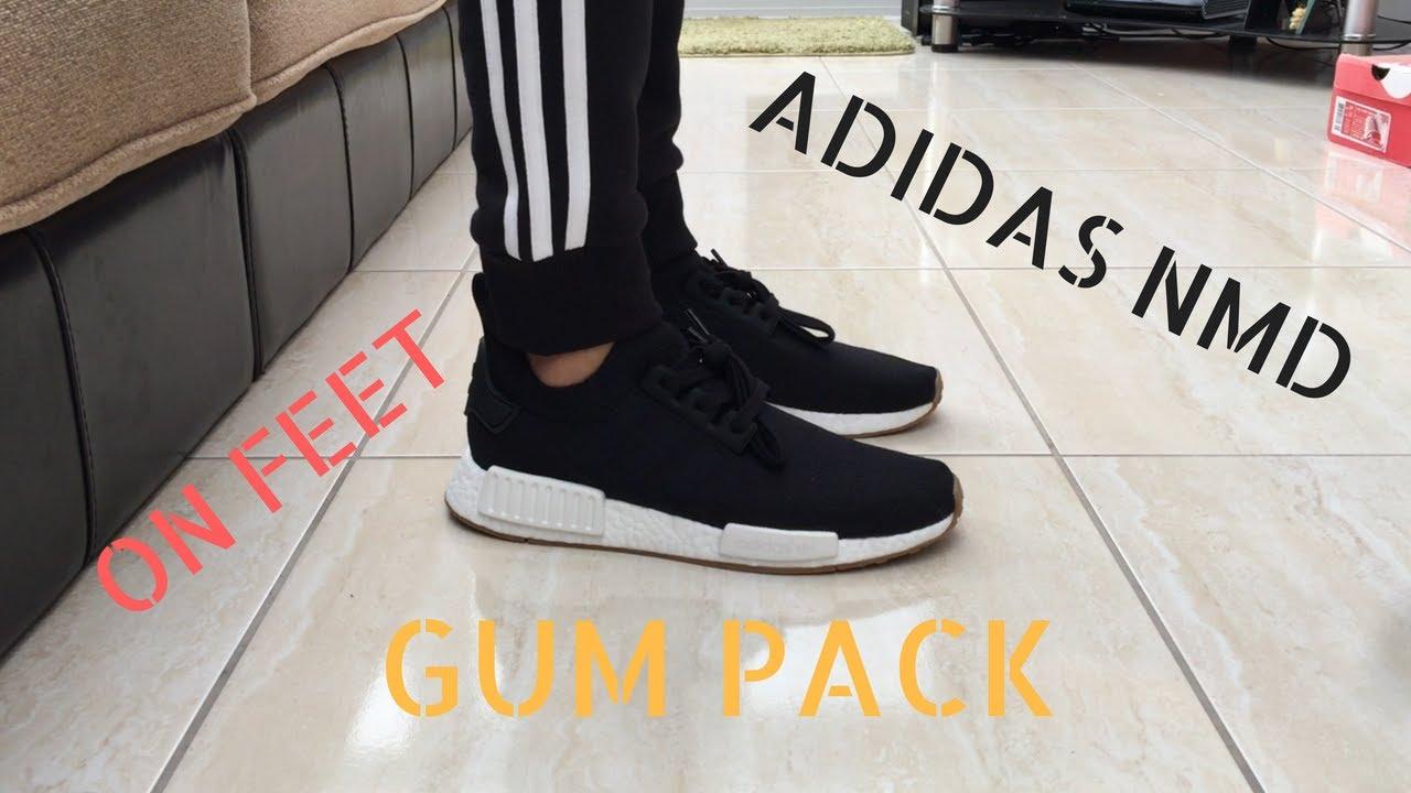 8951b88bd Adidas NMD GUM PACK Black White - Quick ON Feet - YouTube