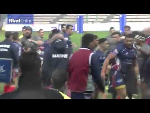 Fight Between British v French navy rugby match 2016