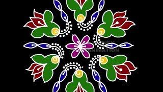 Awesome colorful lotus rangoli design with 9*5dots   Muggulu   Latest kolam   Rangoli   Kolam  