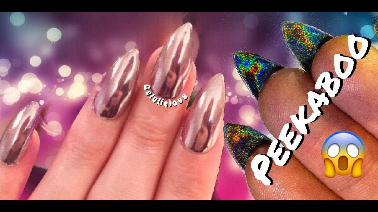 Rose Gold Mirror Chrome Peekaboo Holo Holographic Nail Design