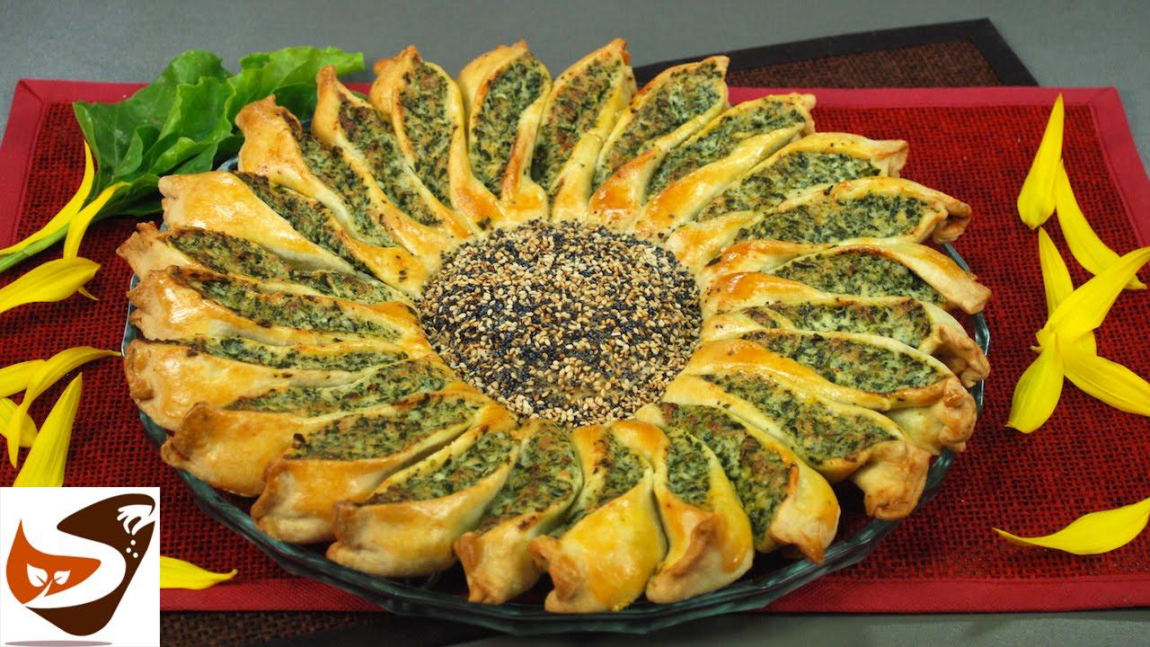 Torta salata girasole con ricotta e spinaci  antipasti