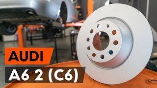 Kā nomainīt aizmugurējie bremžu diski AUDI A6 2 (C6) [AUTODOC VIDEOPAMĀCĪBA]