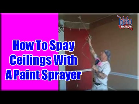 Spraying Ceilings With An Airless Sprayer Painting Ceilings Youtube