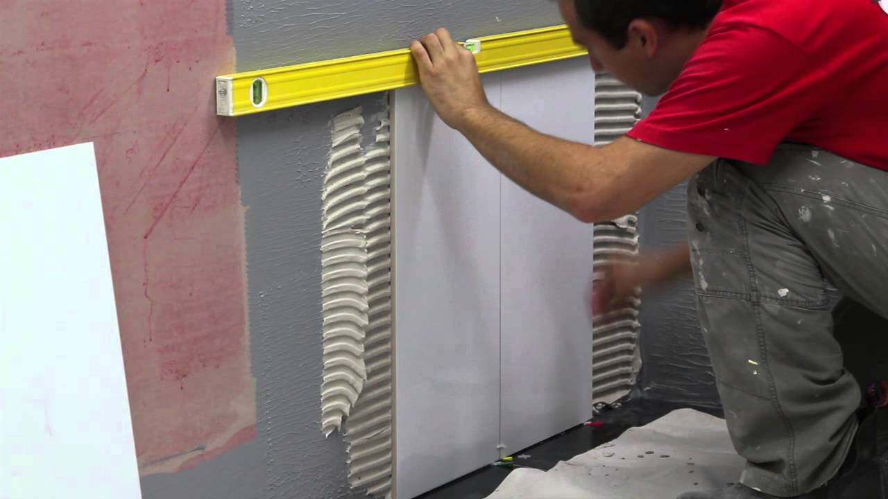 How to do residential bathroom Wall Tiling - YouTube