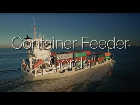 "Container feeder ""Gerda"" approaching the port of Rotterdam"