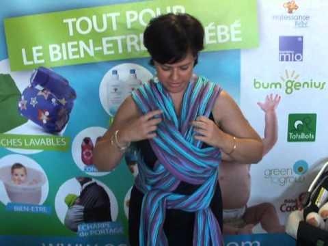 bd47ff84a03 Echarpe de portage   Portage devant - noeud double croisé - YouTube