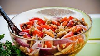 Салат из печеных баклажанов и перцев. Очень вкусный салат.