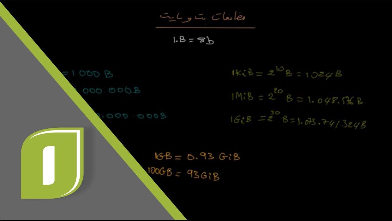 أساسيات البرمجة 7 مضاعفات وحدات التخرين بت بايت كيلوبايت ميجابايت جيجابايت