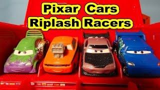 disney pixar cars unboxing new riplash racers with lightning mcqueen mack dj wingo snot rod and