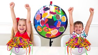 Diana and Roma Mystery Wheel of Spaghetti Challenge  learn how to have fun