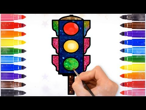 Traffic Light Drawing for Kids | Traffic Signals Draw Glitter Coloring |  Traffic Rules Road Safety - YouTubeYouTube