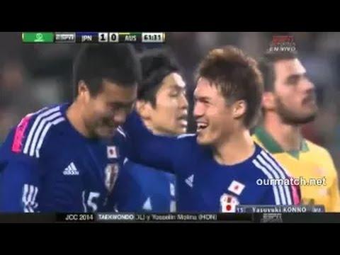 岡崎慎司がヒールでオシャレなゴール! 日本×オーストラリア ゴールハイライト 【サッカー日本代表】