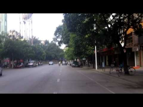 Xinhua Street in Nanning China in the early morning.