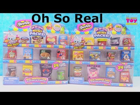 Shopkins Oh So Real Mini Packs Shopper Grocery Blind Bag Opening | PSToyReviews