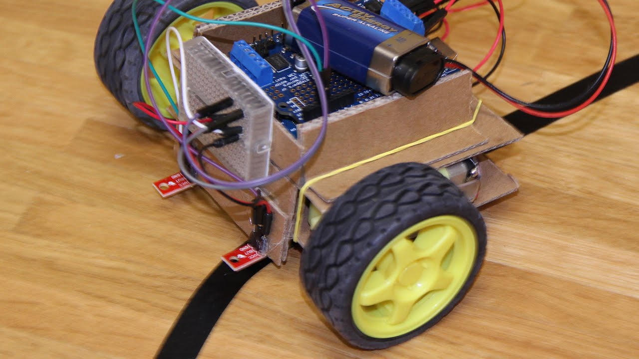 Easy Line Follower Diy T Arduino And Robot Using Infrared Led Photodiode Ardumoto Build Circuit Cardubot 10 With Cardboard Chassis