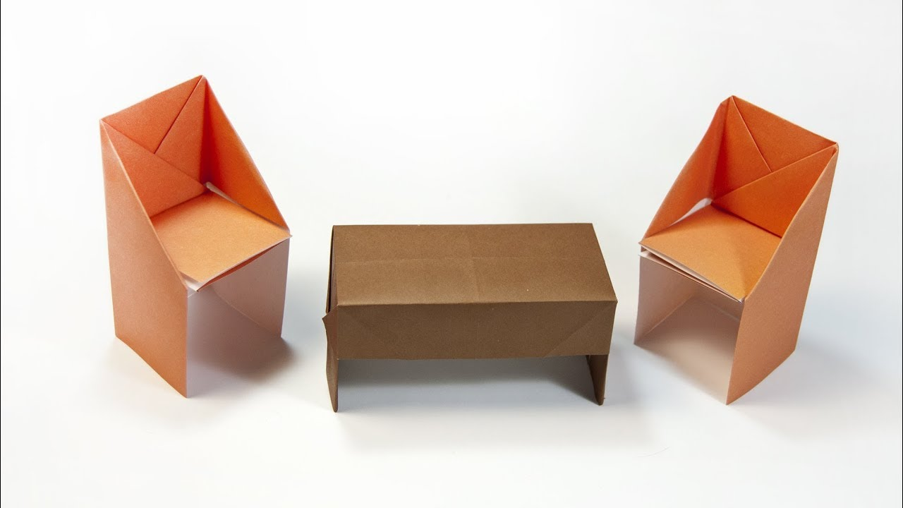 How To Make A Paper Table And Chair Youtube