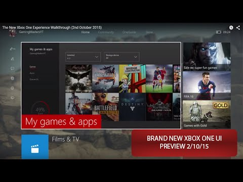The New Xbox One Experience Walkthrough (2nd October 2015)