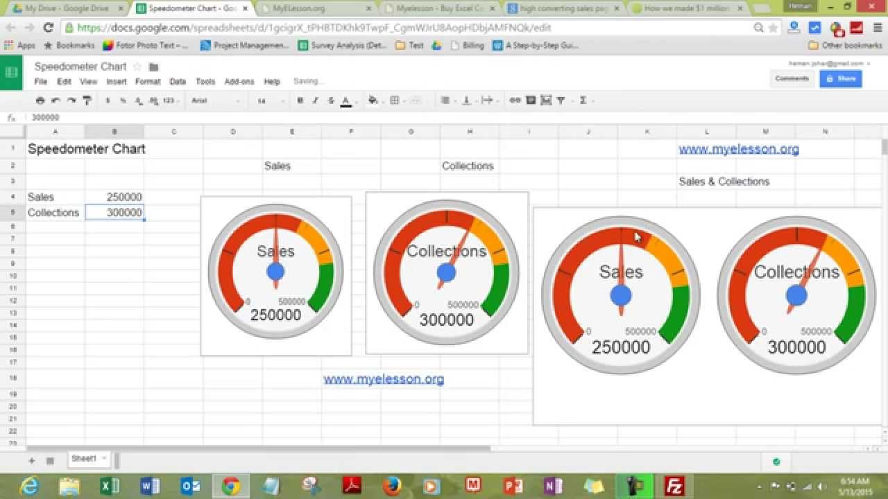Mis report make speedometer chart youtube for Excel speedometer template download