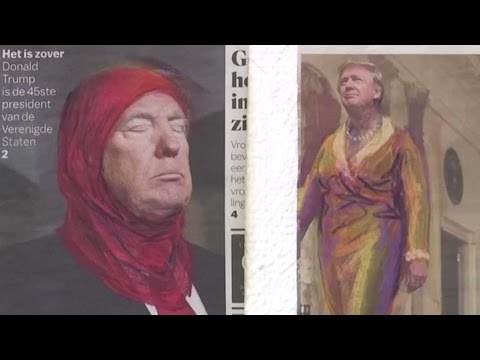 Trump and Wilders don headscarves in Amsterdam exhibition