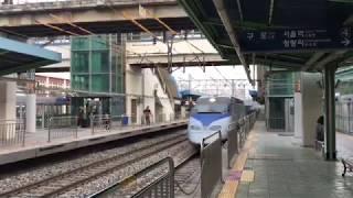 2018.4.30(月)18:55韓国鉄道公社京釜線 衿川区庁駅(上りKTX通過)