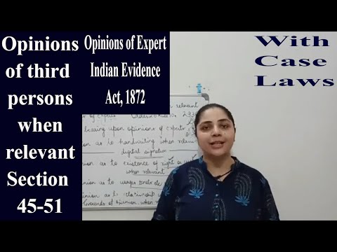 Expert Opinion || Section 45-51|| Indian Evidence Act, 1872