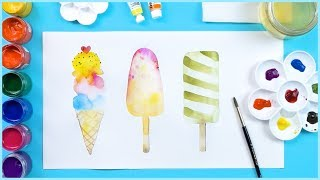 Painting Ice Creams Coloring and Drawing Learn Colors for Beginners, Kids