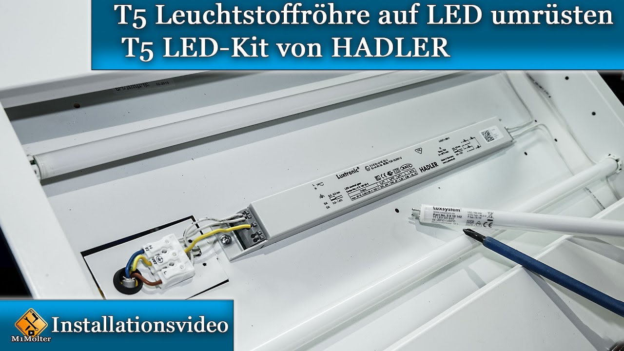 t5 leuchtstoffr hre auf led umr sten t5 led kit von hadler youtube. Black Bedroom Furniture Sets. Home Design Ideas