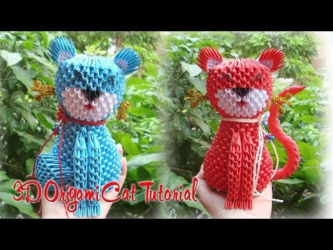 How To Make 3D Origami Cat | Cómo hacer 3D Origami Gato