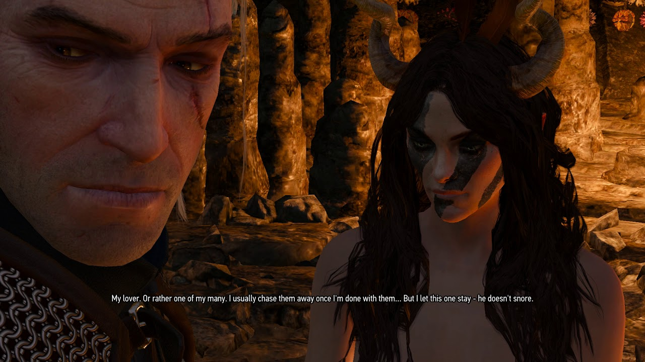 Geralt discovers a cave inhabited by a succubus in Skellige (The Witcher 3:  Wild Hunt)