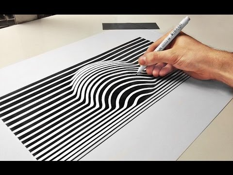 optical illusion draw drawing line cool paper ball illusions drawings 3d speed trick pencil sketch