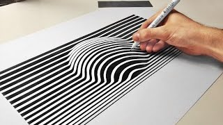 3D Ball Optical Illusion Line Art Paper Cool Trick - ( How To Draw ) Speed Drawing