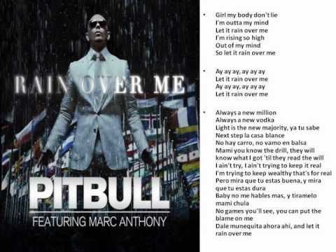 Rain Over Me: Pitbull feat: Mark Anthony LYRICS - YouTube