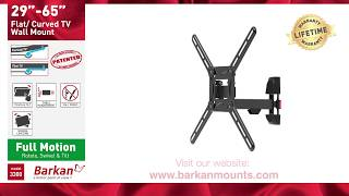Barkan Full Motion TV Wall Mount for Flat / Curved TVs Sizes 29