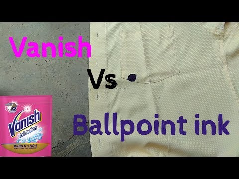 Vanish vs Ballpoint pen ink stain removal with subtitle
