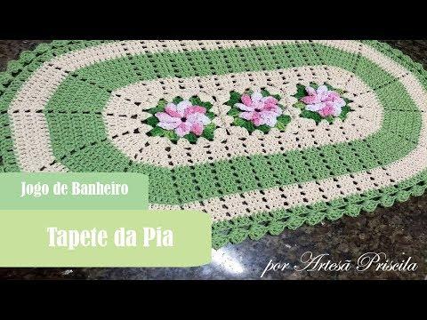 Jogo De Banheiro Flor Catavento Tapete Da Pia Croche Pap 1 3