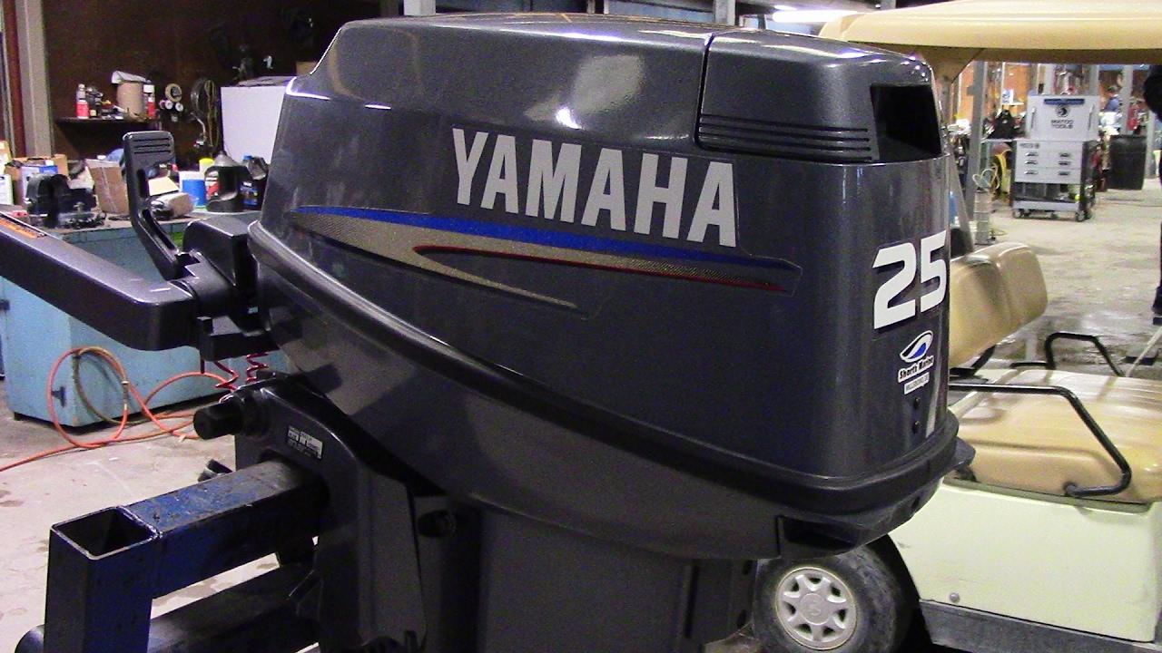 6M6J72 Used 2007 Yamaha 25ELH 25HP 2-Stroke TILLER Outboard Boat Motor 20