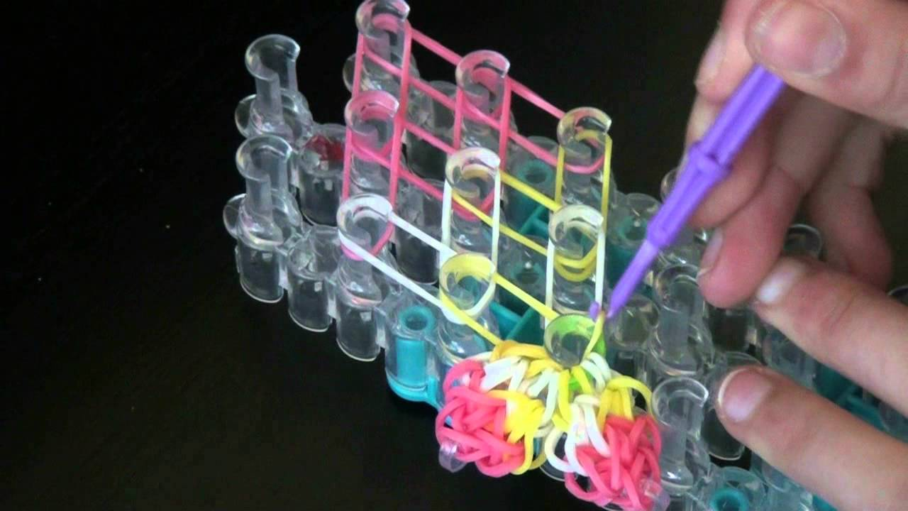 hibiscus flower bracelet rainbow loom youtube rh youtube com Rainbow Loom Template Print Out Rainbow Loom Board