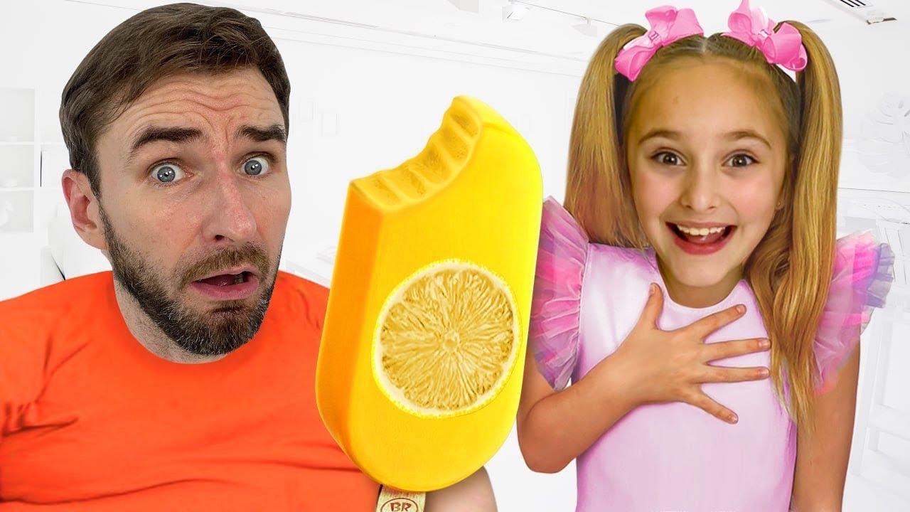 Sasha and Dad learn to eat healthy food, not harmful candies