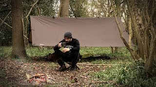 Solo Overnight Camping under a Tarp | Shelter | Bushcraft | Wild Food Foraging