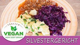 Rotkohl Rotkraut | vegane Butternocken | Zwiebelsauce | Silvester Gericht | Festtagsgericht Vegan
