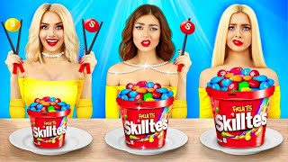 No Hands vs One Hand vs Two Hands Eating Challenge! Crazy Food Battle with Girls by RATATA BOOM