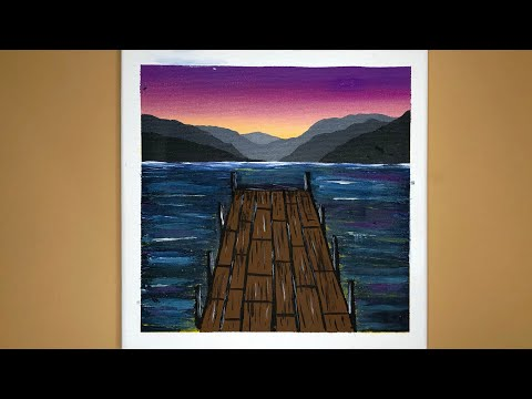 Landscape Acrylic Painting on Canvas Step by Step | Satisfying ASMR