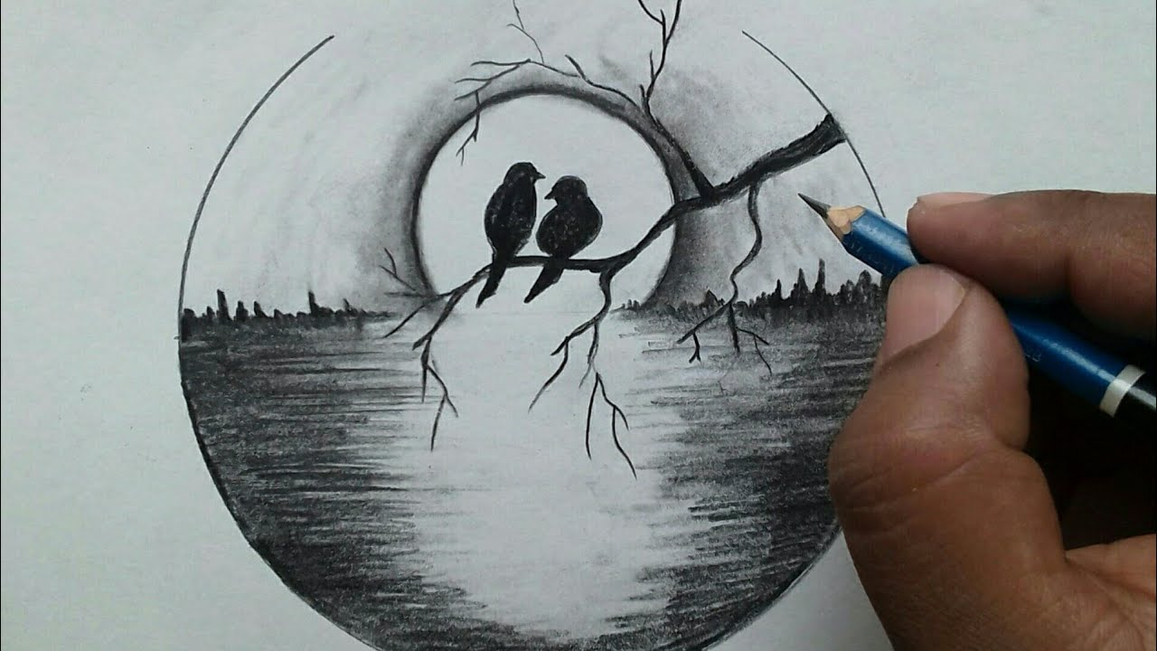 Easy Scenery Drawing Step By Step Moonlight Drawing For Beginners Youtube