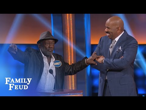 Garret Morris has a BONE TO PICK with Steve!  Celebrity Family Feud  OUTTAKE