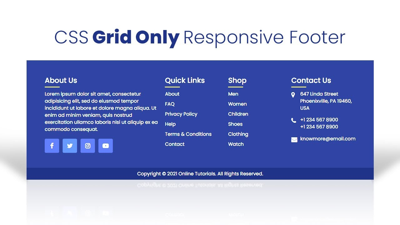 Responsive Footer Design Using HTML & CSS Grid | HTML CSS Footer
