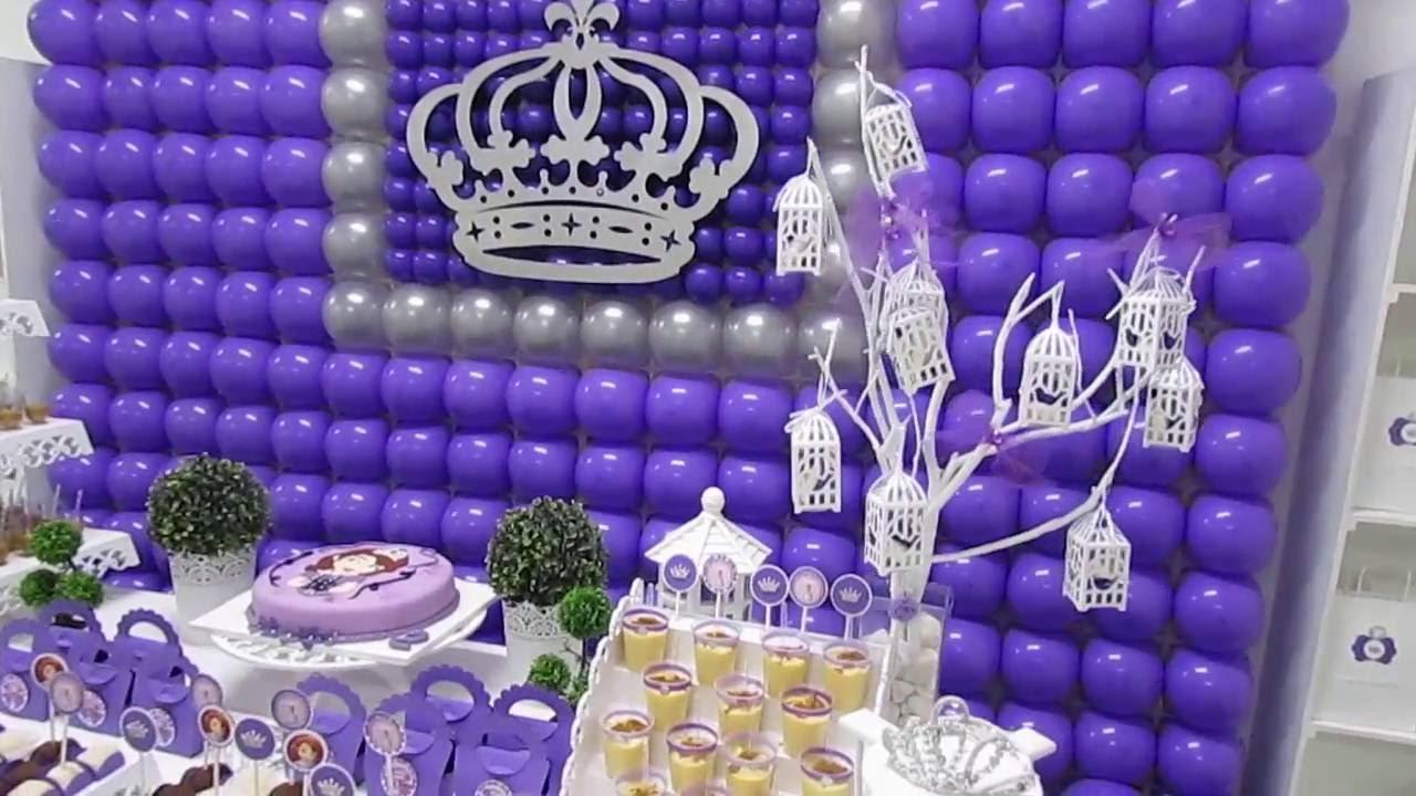Decoraç u00e3o Princesa Sofia by Arena Festas YouTube -> Decoração De Aniversário Princesa Sofia